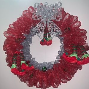 Christmas elf red green and silver mesh wreath